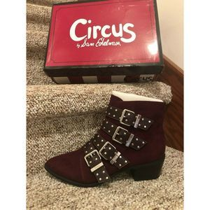 Circus By Sam Edelman Burgundy Bootie Microsuede 6